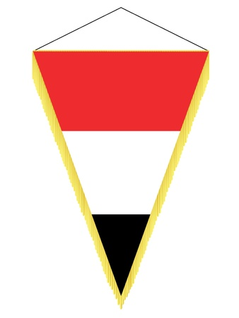 Vector image of a pennant with the national flag of Yemen Illustration