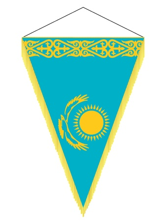 Vector image of a pennant with the national flag of Kazakhstan