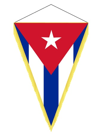 Vector image of a pennant with the national flag of Cuba