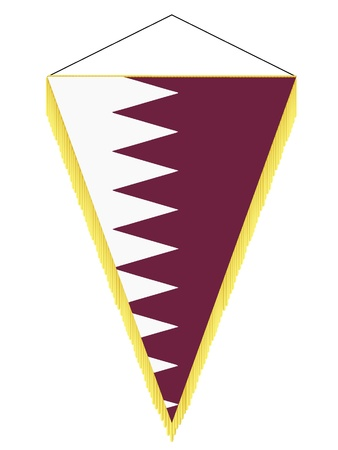 Vector image of a pennant with the national flag of Qatar