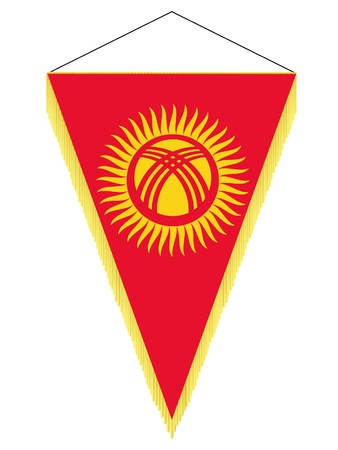 banderol: Vector image of a pennant with the national flag of Kyrgyzstan
