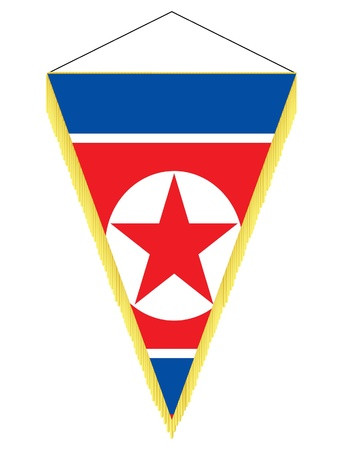 Vector image of a pennant with the national flag of North Korea Illustration