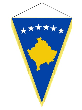 Vector image of a pennant with the national flag of Kosovo Illustration