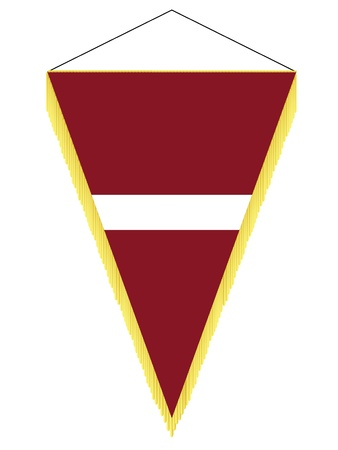 banderol: Vector image of a pennant with the national flag of Latvia