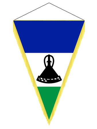 banderol: Vector image of a pennant with the national flag of Lesotho