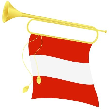 Clairon Vector illustration d'un drapeau Autriche