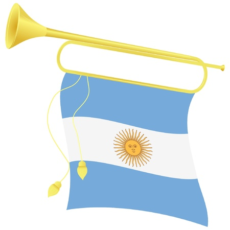 bugle: Vector illustration bugle with a flag Argentina