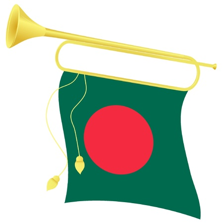 Vector illustration bugle with a flag Bangladesh Vector