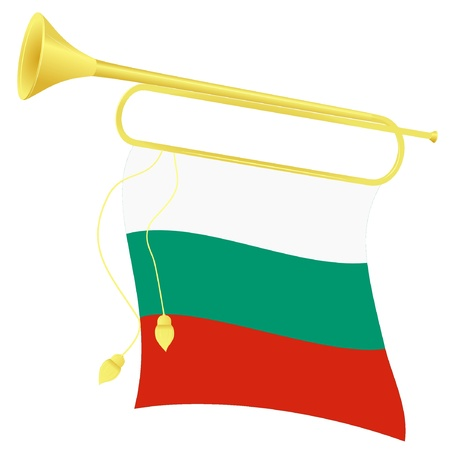 Vector illustration bugle with a flag Bulgaria Stock Vector - 11908385