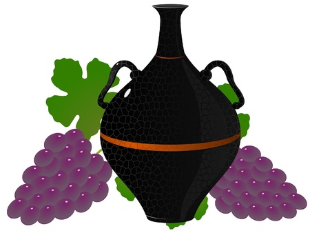 decorative urn: �mphora of wine and grapes. vector
