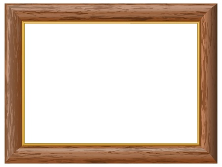 Wooden frame with a gold rim Illustration