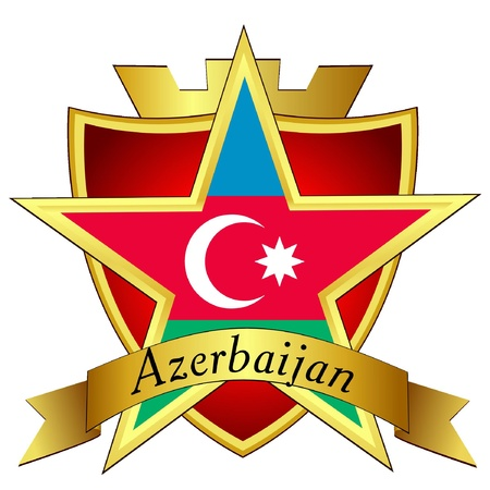 azerbaijan: Vector gold star to the flag of Azerbaijan on the background of the shield