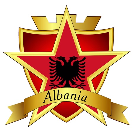 albania: Vector gold star to the flag of Albania on the background of the shield Illustration