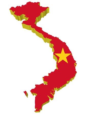 vietnam:  vectors 3D map of Vietnam