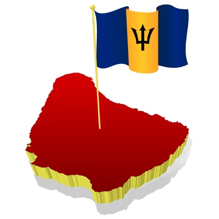 Three-dimensional image map of Barbados  with the national flag Stock Vector - 11942412