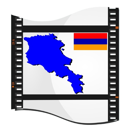 Film shots with a national map of Armenia Vector