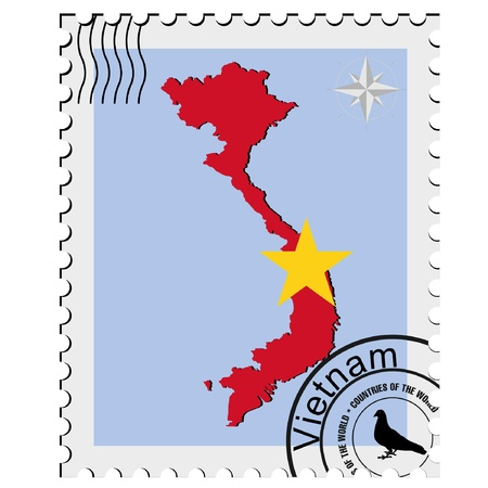 nternet: Vector stamp with the image maps of Vietnam