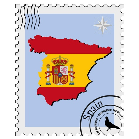perforation: Vector stamp with the image maps of Spain
