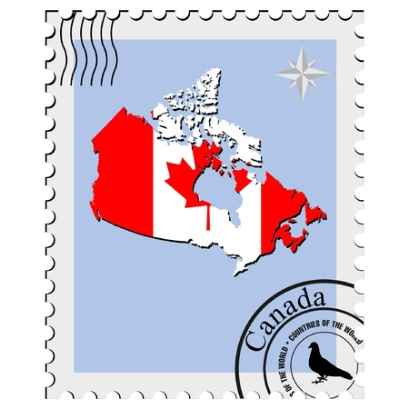 nternet: Vector stamp with the image maps of Canada