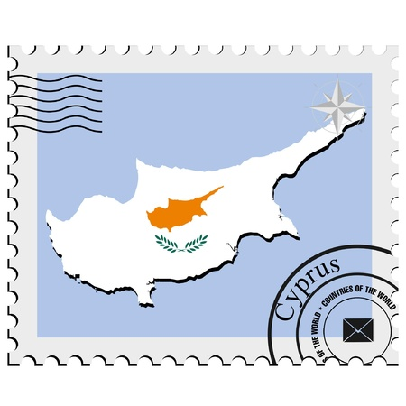 Vector stamp with the image maps of Cyprus Vector