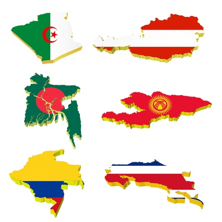 Collection volume vector maps of Algeria, Austria, Bangladesh, Kyrgyzstan, Costa Rica, Colombia Vector