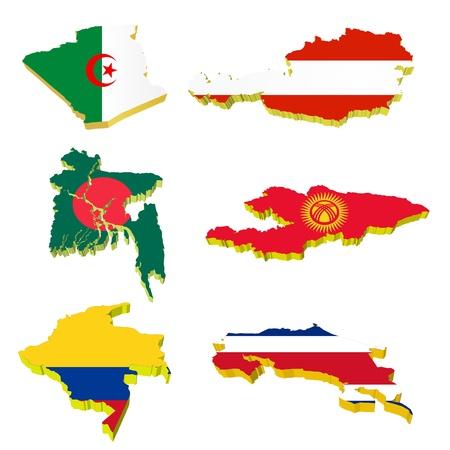 Collection volume vector maps of Algeria, Austria, Bangladesh, Kyrgyzstan, Costa Rica, Colombia Stock Vector - 11942484