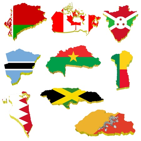 Collection volume vector maps of Belarus, Canada, Burundi, Burkina Faso, Benin, Bahrain, Jamaica, Bhutan, Botswana Vector