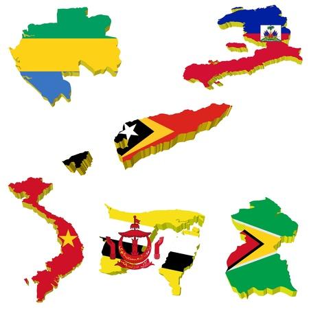 Collection volume vector maps of Gabon, Haiti, Timor, Vietnam, Guyana, Brunei Stock Vector - 11942492