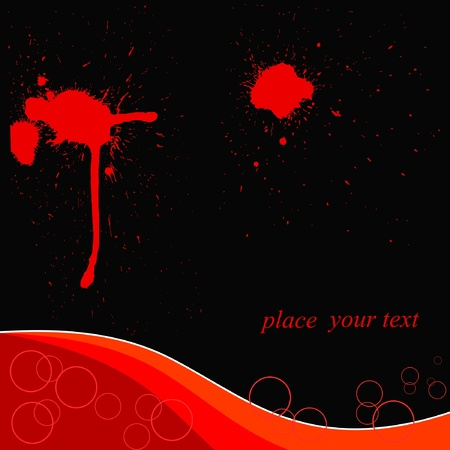 black background with red blots Vector