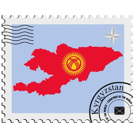 nternet: Vector stamp with the image maps of Kyrgyzstan