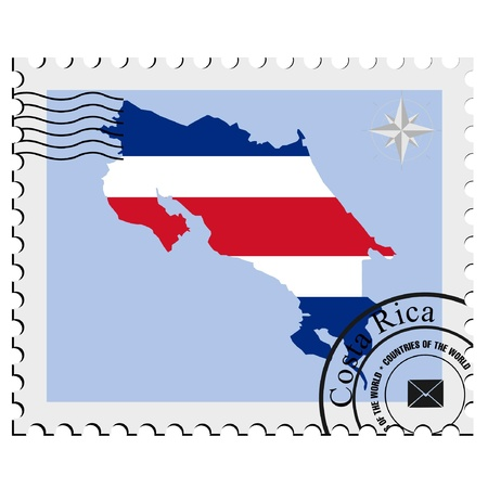 Vector stamp with the image maps of Costa Rica