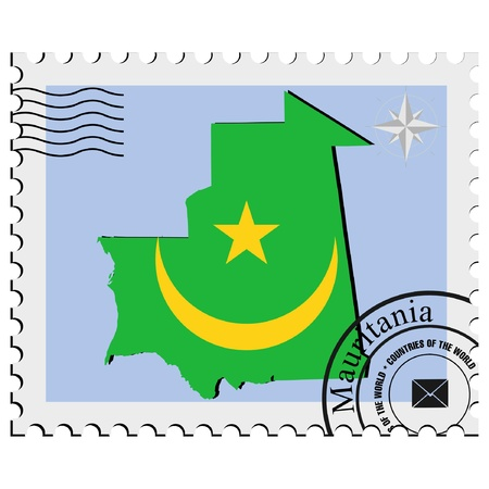 nternet: Vector stamp with the image maps of Mauritania Illustration