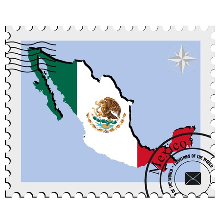 Vector stamp with the image maps of Mexico Иллюстрация