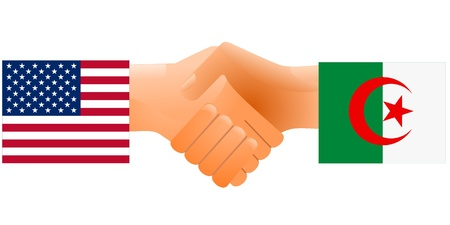 sign of friendship the United States and Algeria Vector