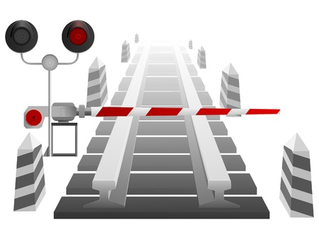 barriers: Vector illustration of a railway crossing