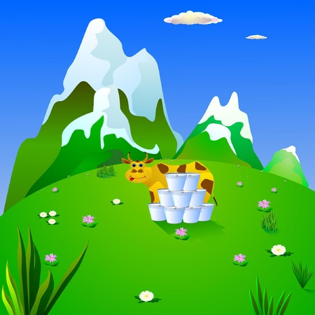 spilt: Vector illustration of a cow in an alpine meadow Illustration