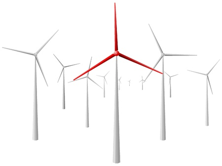 windy energy: windmill. vector