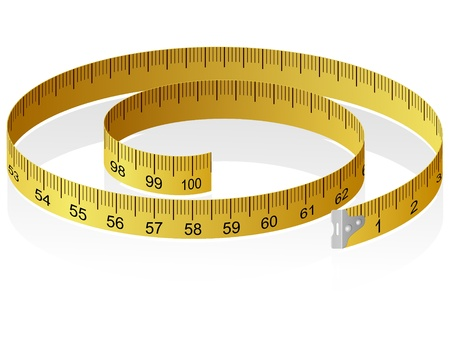 tape measure: Vector illustration of a measuring tape with reflection Illustration