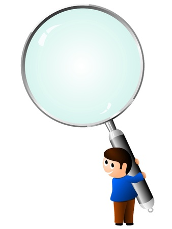 boy with a magnifying glass. vector Stock Vector - 11942398