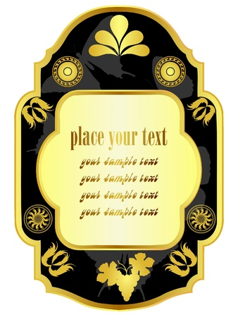 Vector vintage label with gold border Stock Vector - 11942460
