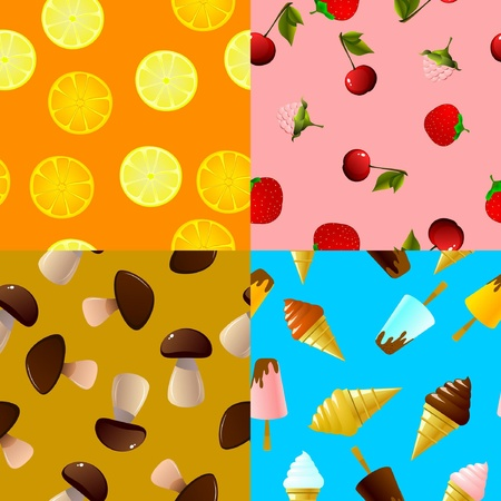 Collection of seamless textures of food Vector