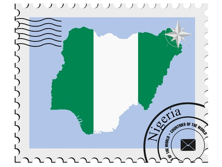 Vector stamp with the image maps of Nigeria Vector