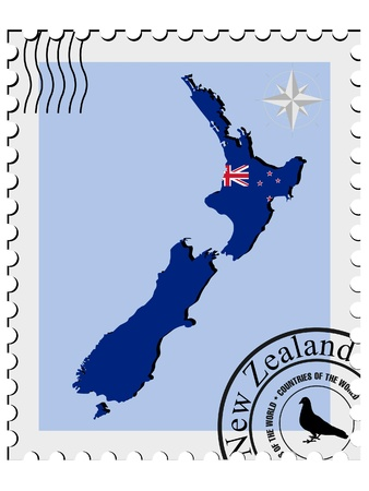 Vector stamp with the image maps of New Zealand Vector