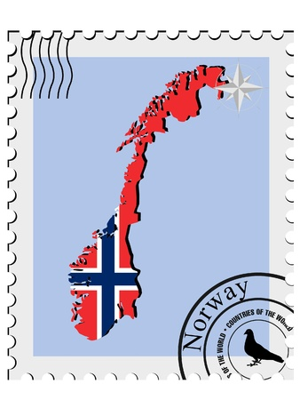 Vector stamp with the image maps of Norway Vector
