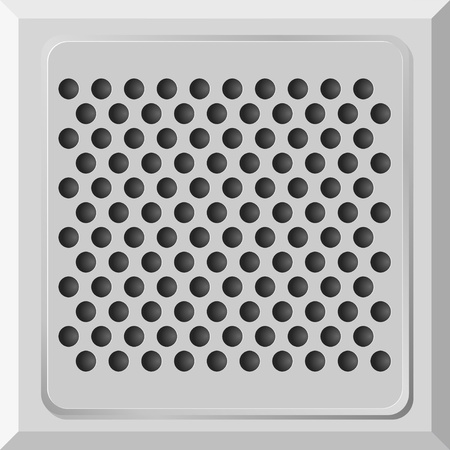 Vector illustration of a metal plate with holes Vector