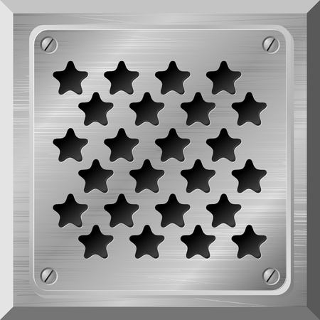 Vector illustration of a metal plate with holes in the form of stars Vector