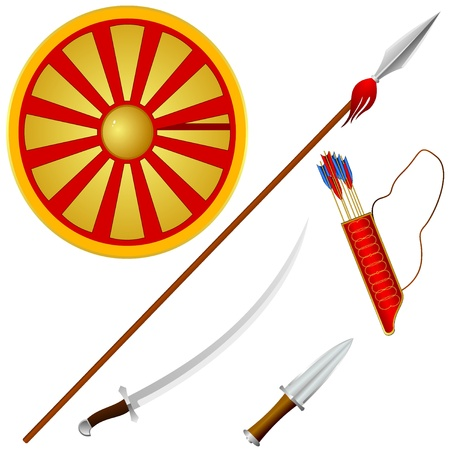 Collection of vector illustrations Cossack weapons