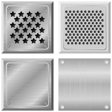Set of metal plates. vector Vector