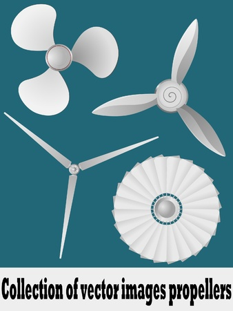 Collection of vector illustrations propellers. vector