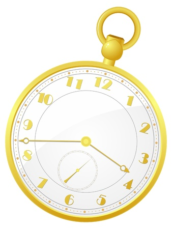 pocket watch: Vector illustration of gold pocket watch Illustration